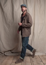 Club Monaco Spring 2011 Mens Cotton Military Shell, Williams Striped Boatneck Tee, Straight Leg Jean, William Driving Hat, Clarks Desert Boots
