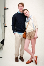 Club Monaco Spring 2011 Mens Left - Miller Crew, Matty Seersucker Shirt, Lightweight Chino. Right - Sofia Sweater, Tabby Short, Bree Jersey Scarf, Camel Necklace, Carrie Messenger