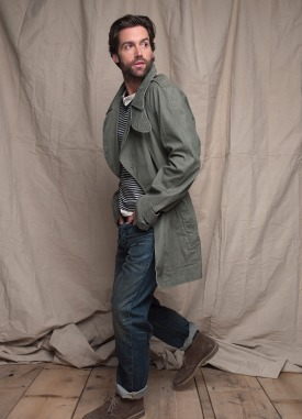 Club Monaco Spring 2011 Mens Military Jacket, Benjamin Striped V Neck, Owen Henley, Slim Straight Jean, Clarks Desert Boots