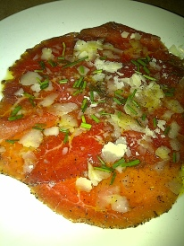 Lolo Restaurant - Beef carpaccio with lemon, olive oil, shaved parmesan