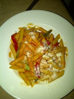 Lolo Restaurant - Penne, asparagus, red peppers, basil tomato cream sauce (vegetarian)