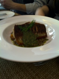 The Chefs' House - Pan-Seared Whitefish Filet, Lentil and Root Vegetable Ragout.