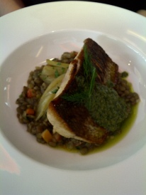 The Chefs' House - Pan-Seared Whitefish Filet, Lentil and Root Vegetable Ragout
