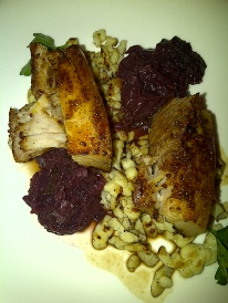The Chefs' House - Roasted Mustard Crusted Pork Belly, Braised Cabbage, Spaetzle.