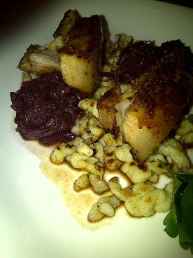 The Chefs' House - Roasted Mustard Crusted Pork Belly, Braised Cabbage, Spaetzle