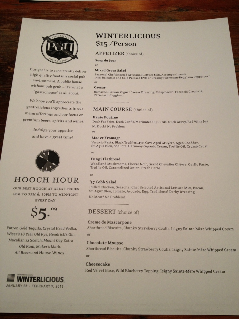 Prohibition Menu
