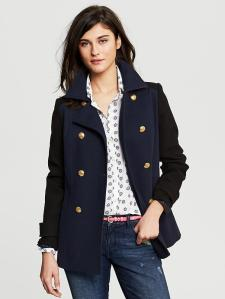 Banana Republic BlackNavy double-breasted coat
