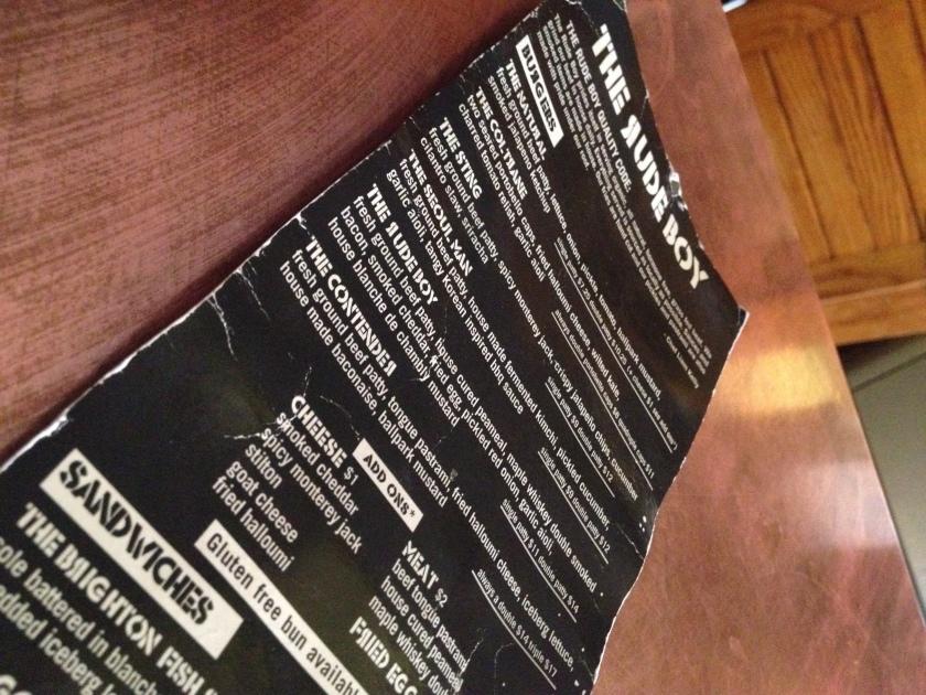 The Rude Boy Toronto menu