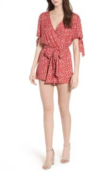 4. Faux Wrap Tie Sleeve Romper by LUSH