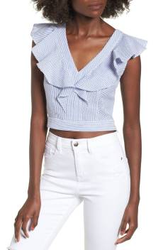 2. Ruffle Seersucker Crop Top by SOCIALITE