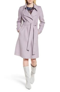 7. Double Face Wool Blend Wrap Front Coat by BADGLEY MISCHKA
