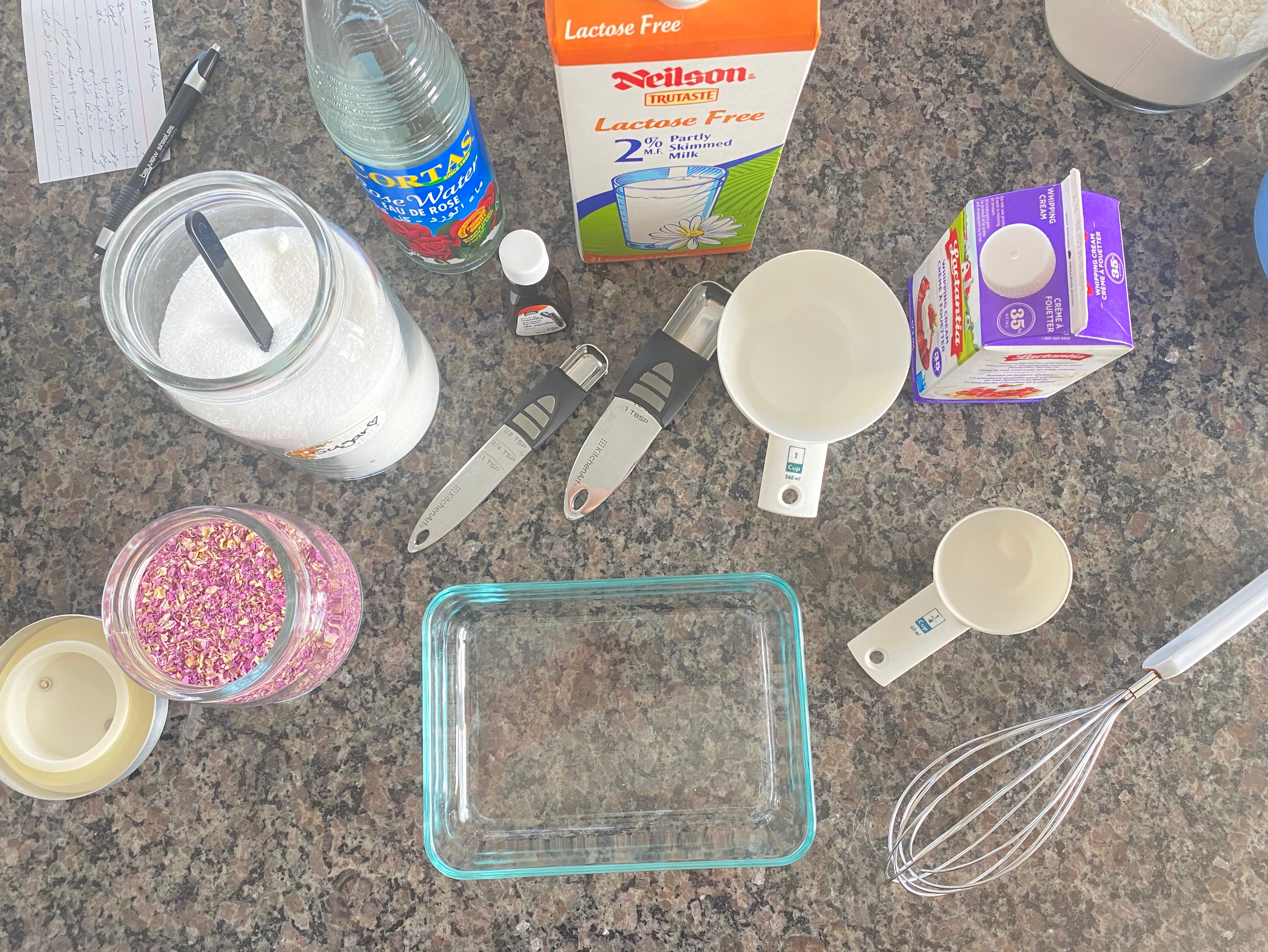 Tools and ingredients for making Rose water ice cream