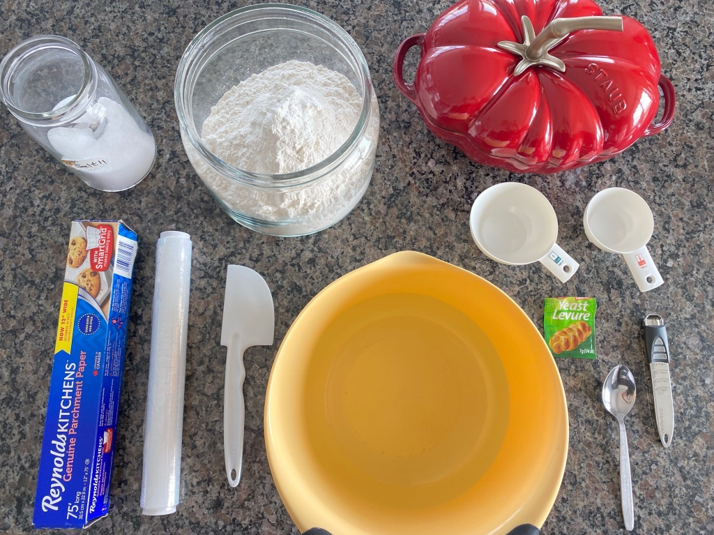 Tools and ingredients  for baking bread